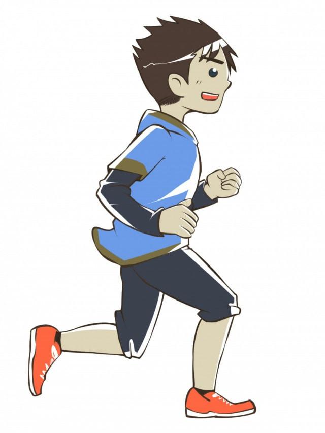 運動する人